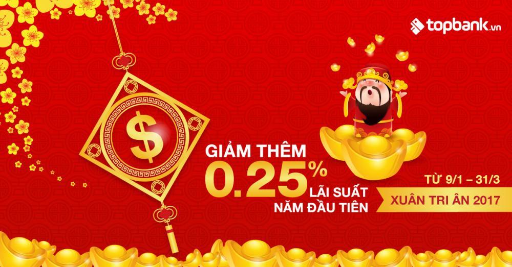 Xuân Tri Ân – Giảm 0,25% lãi suất năm đầu dành riêng cho khách hàng đăng ký  gói vay ngân hàng qua Topbank.vn