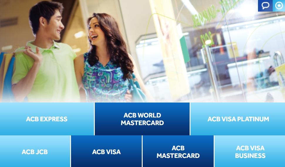 Các loại thẻ tín dụng nội địa và quốc tế ACB
