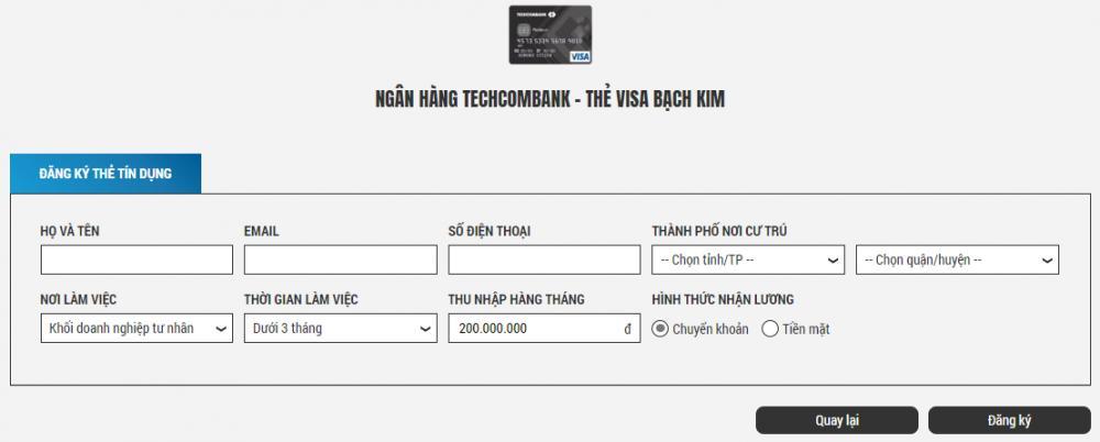 Đăng kí làm thẻ Techcombank