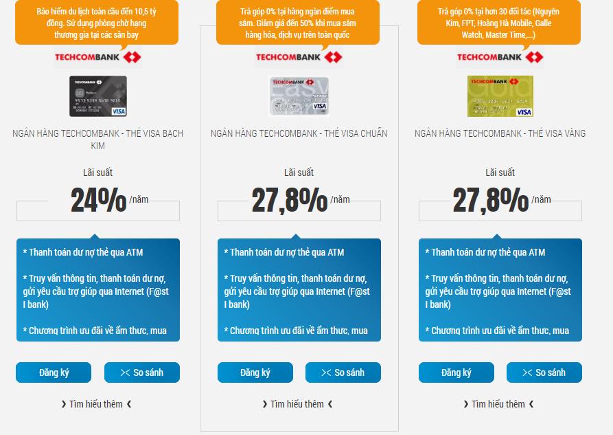 so sánh các loại thẻ techcombank