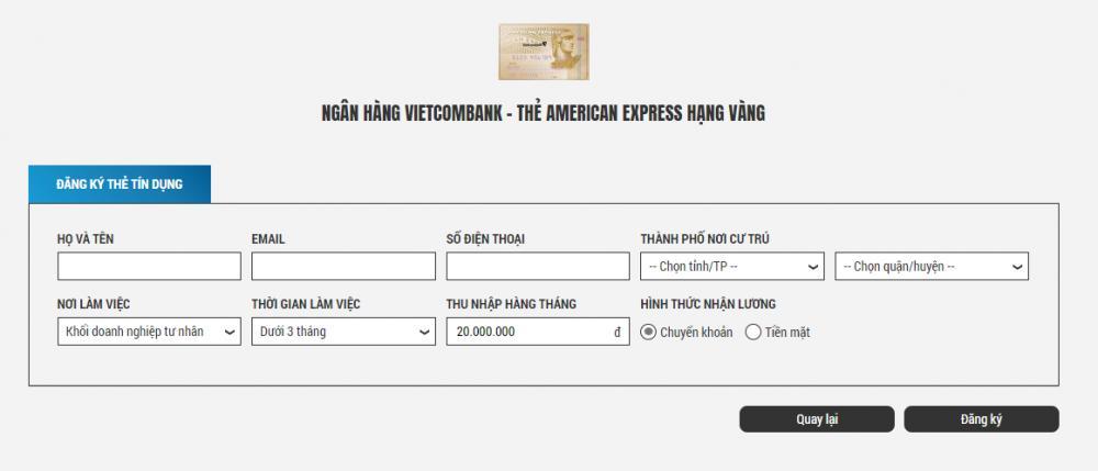 Đăng kí thẻ Visa vietcombank - ảnh minh họa