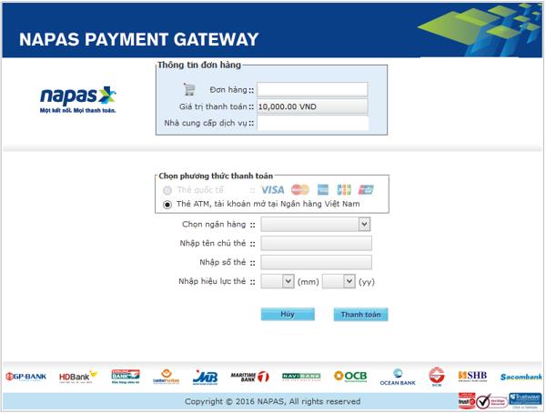 Thanh toán các hóa đơn mua sắm bằng thẻ ATM napas
