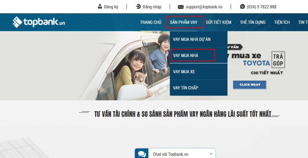 Danh mục sản phẩm vay mua nhà tại topbank.vn -ảnh minh họa