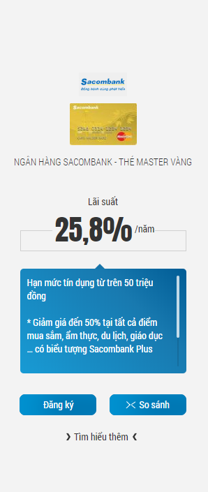 Lãi suất thẻ tín dụng Sacombank hiện nay