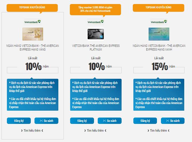 Các loại thẻ tín dụng lương 10 triệu Vietcombank
