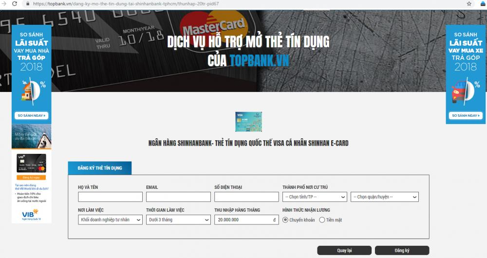 Đăng ký làm thẻ tín dụng tại TP Hồ Chí Minh