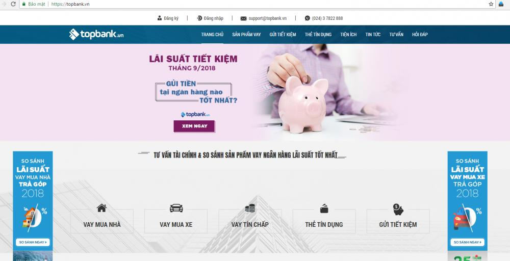 Giao diện website Topbank.vn