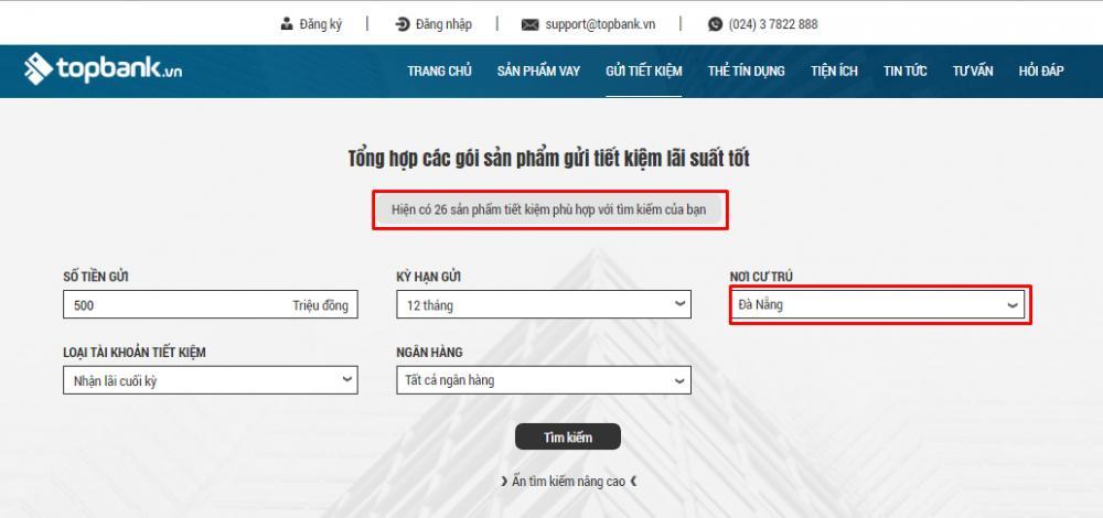 Tìm kiếm sản pgẩm gửi tiết kiệm tại Đà Nẵng