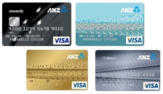 Các loại thẻ tín dụng ngân hàng ANZ