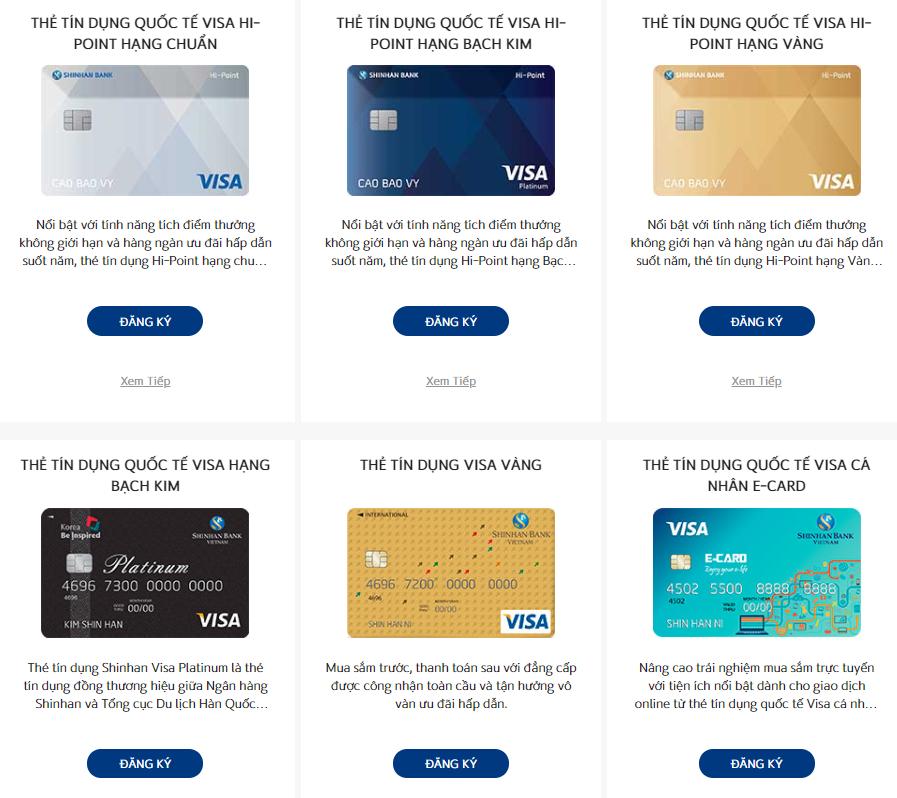 Một số loại thẻ tín dụng Shinhan Bank - ảnh minh họa