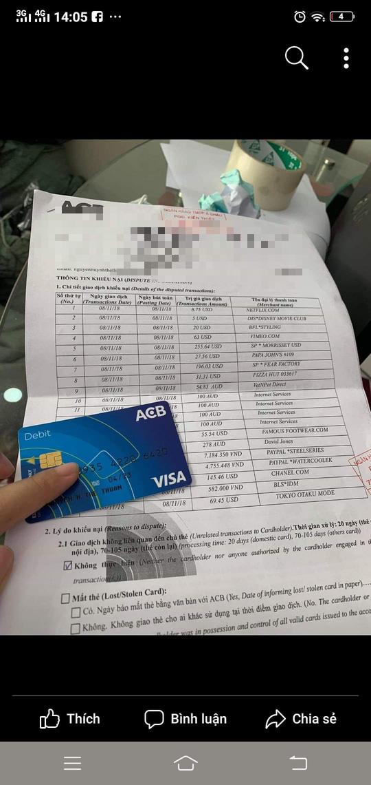 Sao kê các giao dịch của chủ thẻ Visa Debid ACB tên Nguyễn Huỳnh Thế Thuận rạng sáng 8-11