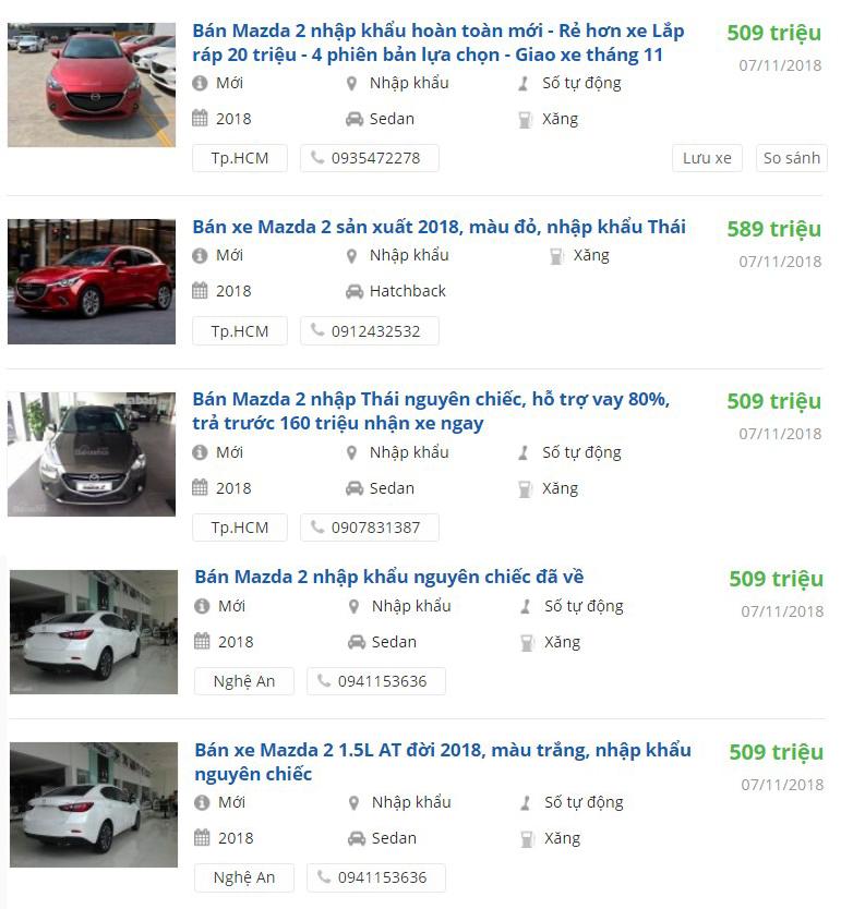 Giá xe Mazda 2 2019 được các đại lý nhận đặt cọc