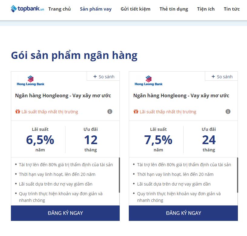 Lãi suất vay mua nhà tháng 12 ngân hàng Hongleong bank