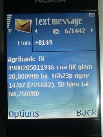 Tìm lại số tài khoản ngân hàng Agribank với SMS Banking - ảnh minh họa