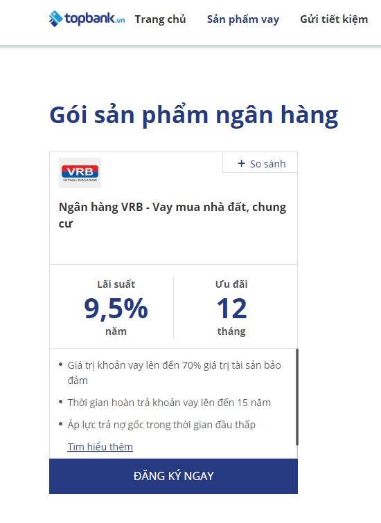 Lãi suất vay mua nhà VRB - ảnh minh họa