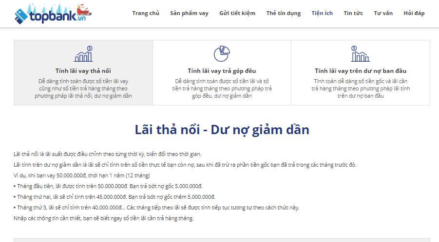 Công cụtính lãi khoản vay mua nhà Topbank.vn