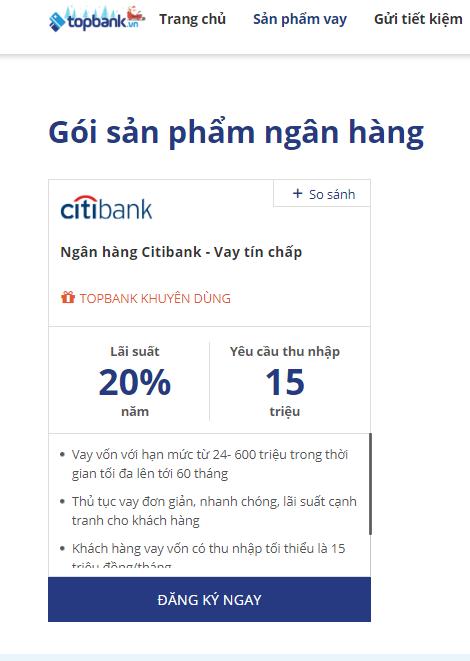Lãi suất vay tín chấp Citibank chỉ từ 20%/năm