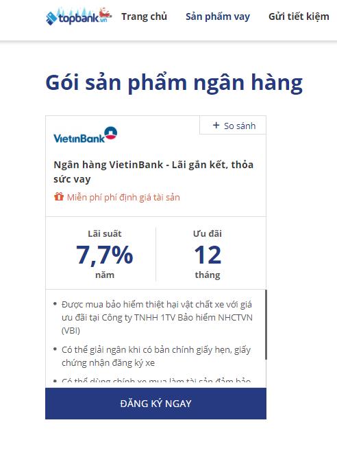 Lãi suất vay mua xe Vietinbank 2019 mới nhất