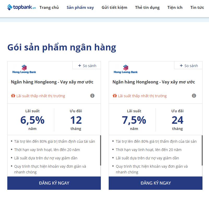 Lãi suất vay mua nhà Hongleongbank tháng 1/ 2019