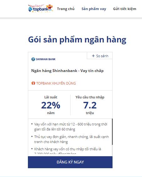 Lãi suất vay tín chấp shinhanbank 2019