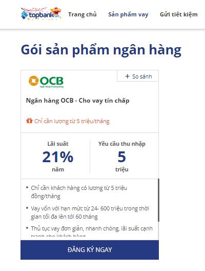 Lãi suất vay tín chấp OCB 2019