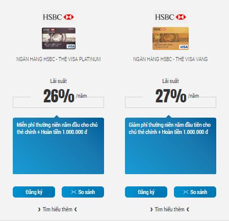 Lãi suất thẻ tín dụng HSBC hiện nay là bao nhiêu?