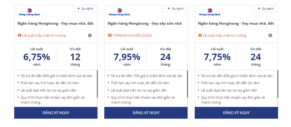 Lãi suất vay mua nhà Hongleongbank vô cùng hấp dẫn