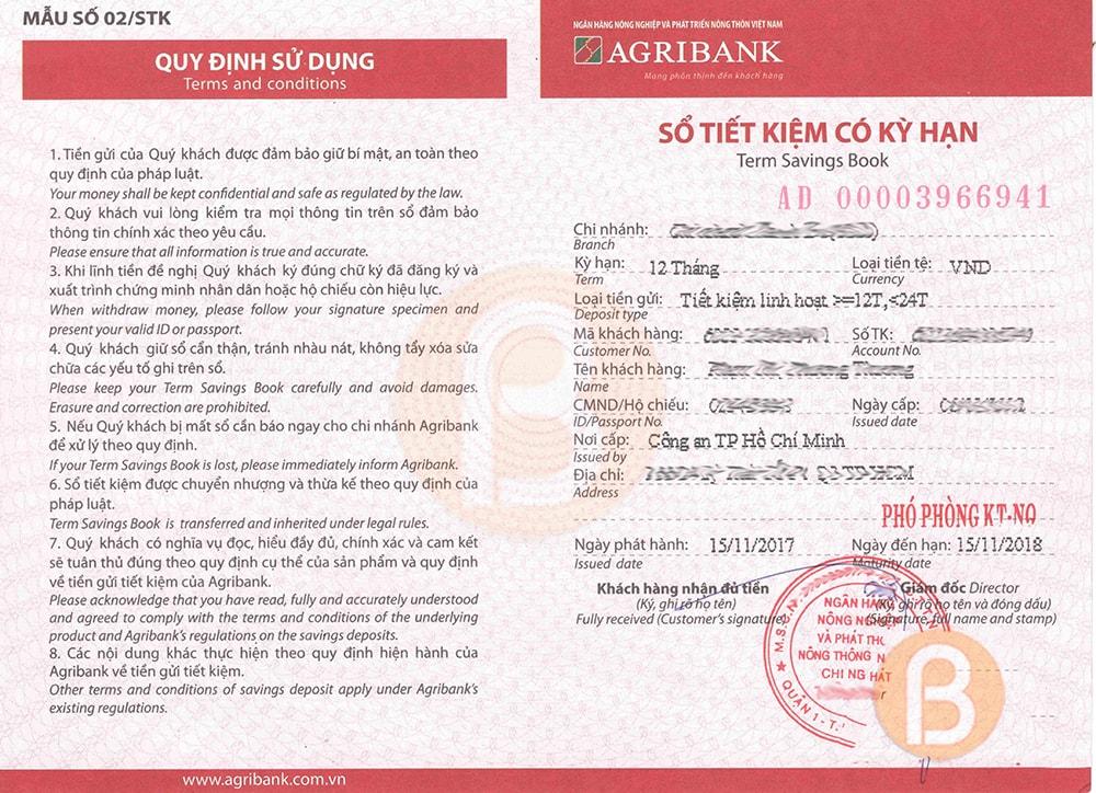 Cập nhật thủ tục mở sổ tiết kiệm ngân hàng Agribank 2020