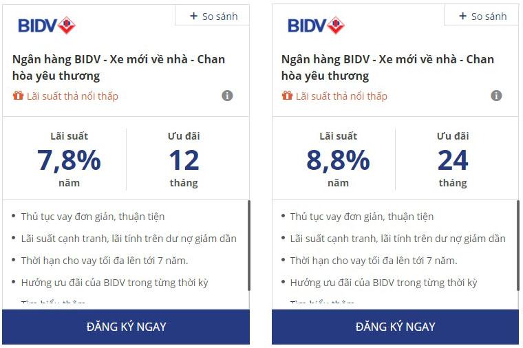Lãi suất vay mua xe ngân hàng BIDV mới nhất