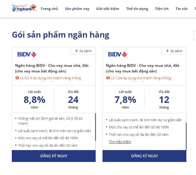 Lãi suất vay mua nhà BIDV cập nhật mới nhất