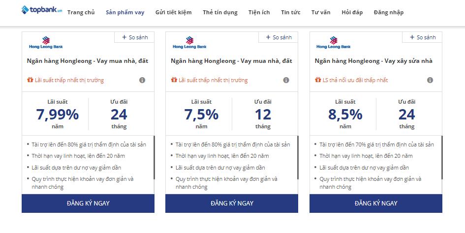Lãi suất vay mua nhà Hong Leong