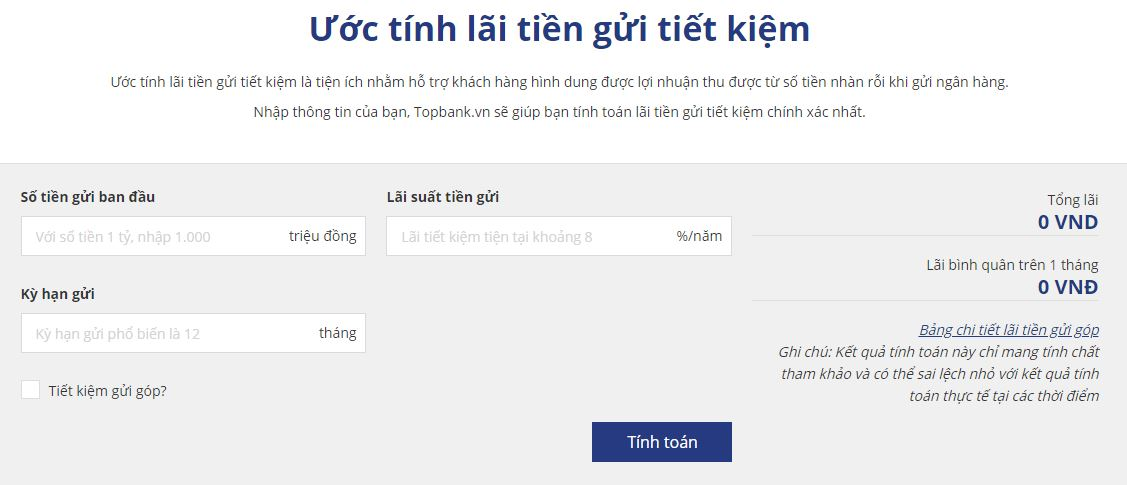 Công cụ tính lãi tiền gửi Vietinbank