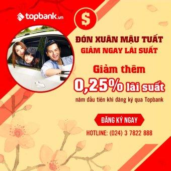Đón xuân Mậu Tuất - Giảm ngay lãi suất khi vay mua xe qua Topbank.vn