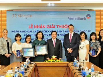 VietinBank nhận 2 giải thưởng của JPMorgan Chase Bank