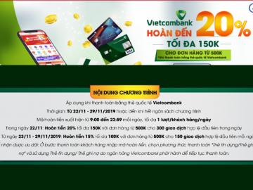 Black Friday: Hoàn tiền lên đến 20% khi mua sắm tại Sendo cùng Vietcombank