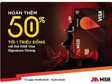 Hoàn tiền 50% chi tiêu ẩm thực khi thanh toán bằng thẻ MSB